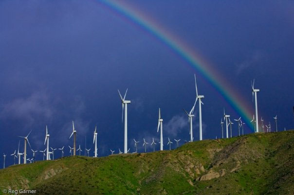 Rainbow over windfarm