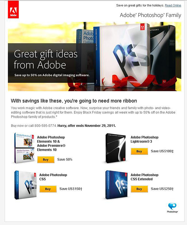 screenshot of Adobe Black Friday ad