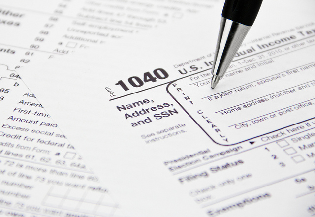 IRS 1040 Tax Form Being Filled Out