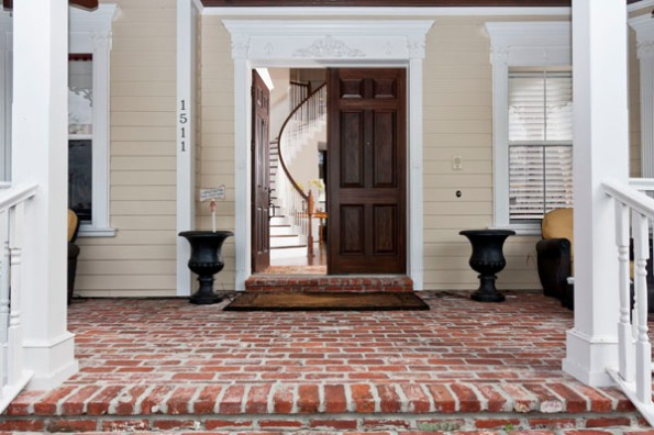 A front door and staircase